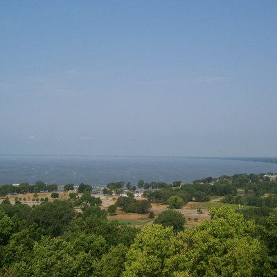 The north end of Lake Winnebago taken from the observation tower at High Cliff State Park in Sherwood, Wisconsin, USA.