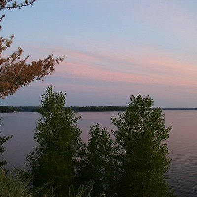 View south from Lake Trail at sunset: Lake Wissota State Park, WI, USA