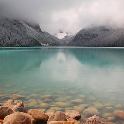 Lake Louise on a late summer afternoon, following a brief snowstorm.