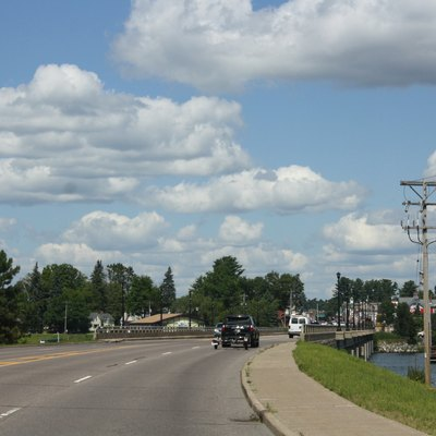 Looking northerly at the bridge for Lake Minocqua in w:Minocqua (CDP), Wisconsin on US 51.