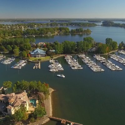 Aerial View of the Peninsula Yacht Club in Cornelius on Lake Norman, North Carolina.