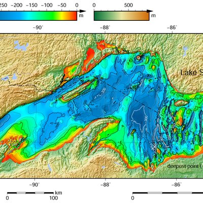 Lake Superior bathymetric map.[11][12][13] The deepest point, roughly off its southeastern shore, is marked with
