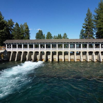 The Lake Tahoe Dam in Tahoe City, California. The dam is located on the only outlet of Lake Tahoe, the Truckee River.