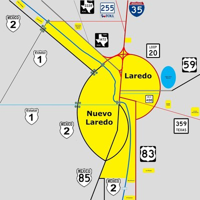 Highway map of Laredo-Nuevo Laredo Metropolitan Area