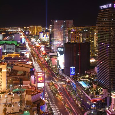 Las Vegas Strip, Cosmopolitan Hotel, Planet Hollywood Hotel and Casino, Luxor and MGM Grand at night