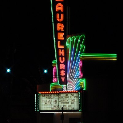 The neon sign of the Laurelhurst Theater, in Portland, Oregon.