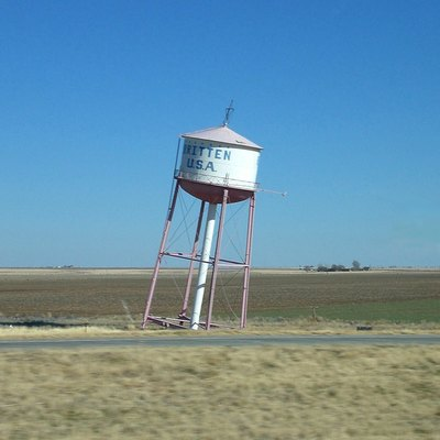 The leaning water tower, found about two miles east of Groom, Texas along I-40 (old U.S. Route 66)