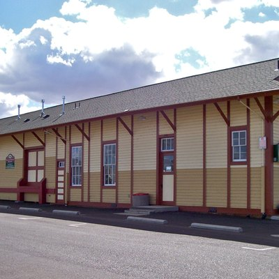 Lebanon Southern Pacific Railroad Depot In Oregon. Listed On The National Register Of Historic Places.