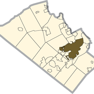 Allentown Shaded On The Map Of Lehigh County.