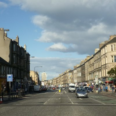 A view looking towards Leith from Pilrig Street and Iona Street.
