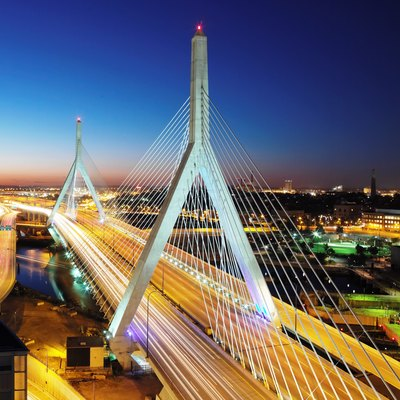 Leonard P. Zakim Bunker Hill Memorial Bridge Crosses The Charles River From Downtown Boston