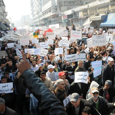 [Mawassi Lahcen] Protestors in Casablanca demand that authorities follow through on promises of political reform.