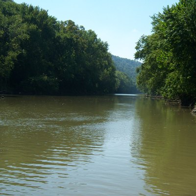The Levisa Fork River in Paintsville, as viewed from the Paintsville boat ramp.