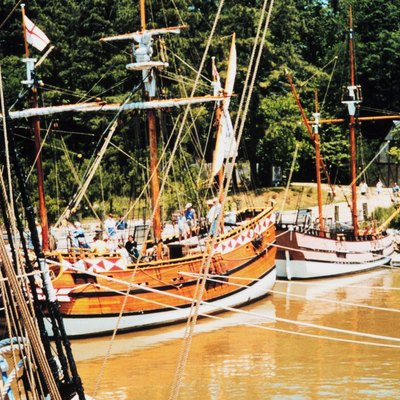 Reproduction of early English vessels at Jamestown, Virginia. Virginia, Jamestown. 1999.