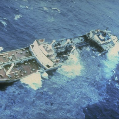 Argo Merchant oil spill. The ship broke apart and spilled its entire cargo of 7.7 million gallons of No. 6 fuel oil. Massachusetts, Nantucket Shoals.
