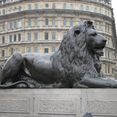 Lion at Nelson's Column by Sir Edwin Landseer, Trafalgar Square, London, UK