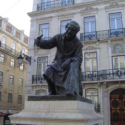 Statue of poet António Ribeiro in the Chiado Square, Lisbon, Portugal