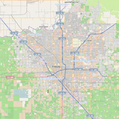 This map of Fresno, California, and vicinity was created from OpenStreetMap project data, collected by the community. This map may be incomplete, and may contain errors. Don't rely solely on it for navigation.