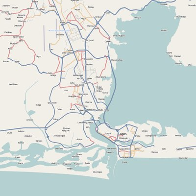 A map of major road links in Metropolitan Lagos.