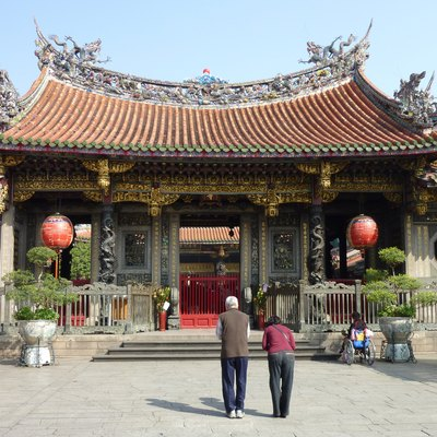 Right entrance (Dragon door) of the Mengjia Longshan Temple in Taipei, Taiwan