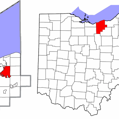 Map highlighting City of Elyria, Lorain County, Ohio, United States.