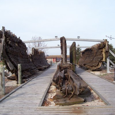 The wreck of the Lottie Cooper in Sheboygan, Wisconsin, USA. It is was wrecked in Lake Michigan.