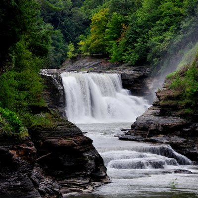 Waterfalls and gorge scenery in Letchworth State Park, New York, USA.