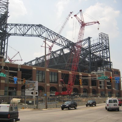 The Lucas Oil Stadium in Indianapolis, during construction.