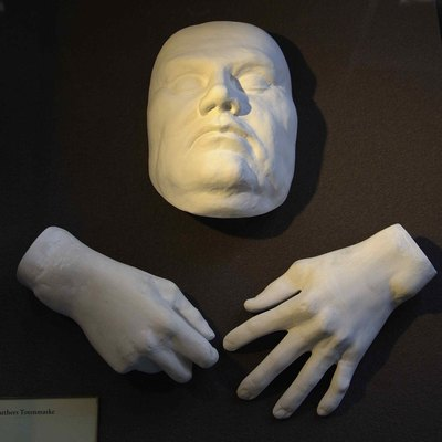 Cast of Luther's face and hands at his death.