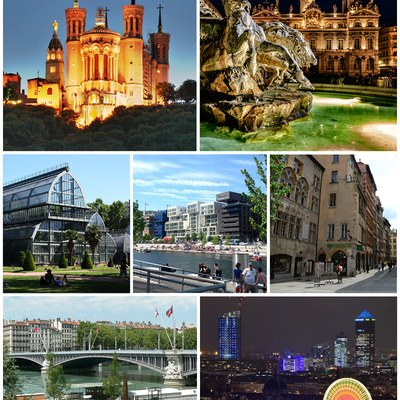 Top: Basilica of Notre-Dame de Fourvière, Place des Terreaux with Fontaine Bartholdi and Lyon City Hall at night Centre: Parc de la Tête d'Or, Confluence district and old city. Bottom, Pont Lafayette, Part-Dieu district with Place Bellecour in foreground during Festival of Lights.