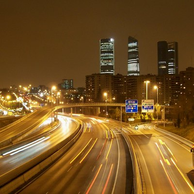 M-30 Ring Highway In Madrid (Spain). Background: Ctba Buildings.