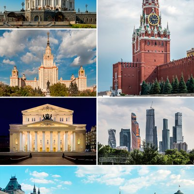 Clockwise from top left: Cathedral of Christ the Saviour; Spasskaya Tower of the Moscow Kremlin; MIBC; Red Square; Bolshoi Theatre; and Moscow State University.