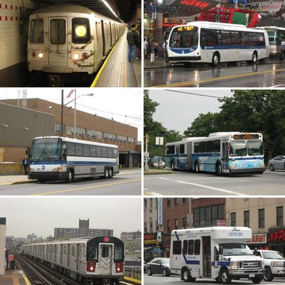 The New York City Transit Authority (MTA New York City Transit, a subsidiary of the Metropolitan Transportation Authority of NY) provides local bus, express bus, subway, bus rapid transit, and paratransit service in the City of New York.