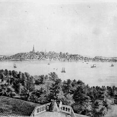 Lithograph: view of Madison, the Capital of Wisconsin. Taken from the Water Cure, South Side of Lake Monona.