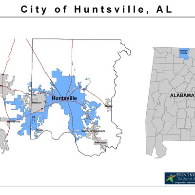 Madison County Alabama with Current Huntsville Corporate Limits Highlighted in Blue.