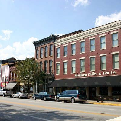 Some of the historic buildings along Main Street in Madison, by Rick Dikeman, 8/8/2007.