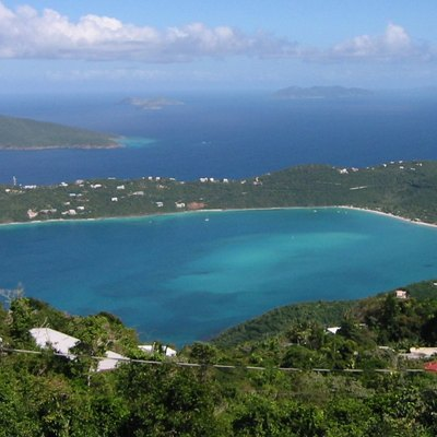Looking down at Magens Bay from Mountain Top, Saint Thomas, U.S. Virgin Islands.