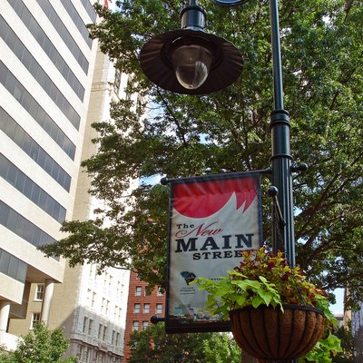 Lightpost banner on Main Street in downtown Columbia, South Carolina, USA