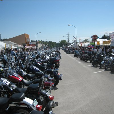 Bikes lined up on Main Street during Bike Week, Sturgis, South Dakota