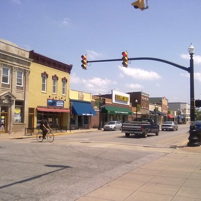 Main in downtown Hobart, Indiana, looking southeast
