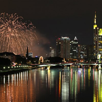 Fireworks Of Mainfest With Main And Skyline In Frankfurt Am Main, Germany