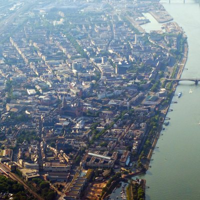 Aerial photograph of Mainz, Germany.