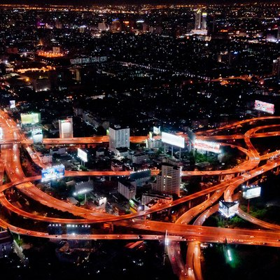 A view of one of the major expressway interchanges in Bangkok, Thailand. Taken from the 84th floor observation desk at the Bayoke Sky Hotel, the tallest building in Thailand.