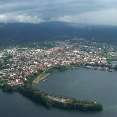 I have taken this from the air when flying over the city of Malabo