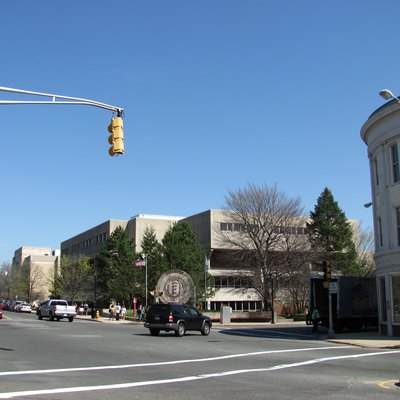Intersection of Main, Salem, and Ferry Streets looking towards Malden High School in Malden, Massachusetts, April 2010