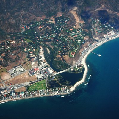 Aerial view of Downtown Malibu and surrounding neighborhoods
