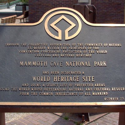 The World Heritage Site plaque outside the Visitor Center at Mammoth Cave National Park in Kentucky. It reads: