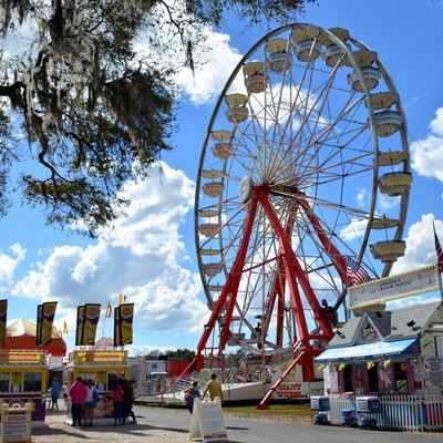 Manatee County Fair amusement midway; Manatee County, Florida.
