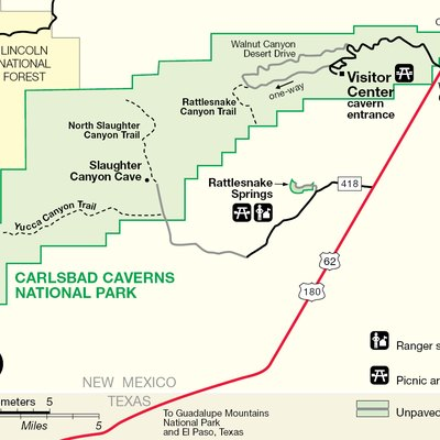 Map of Carlsbad Caverns National Park — in the Guadalupe Mountains, Eddy County, southeastern New Mexico.
