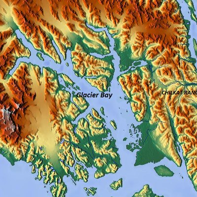 Relief map of Glacier Bay, Alaska